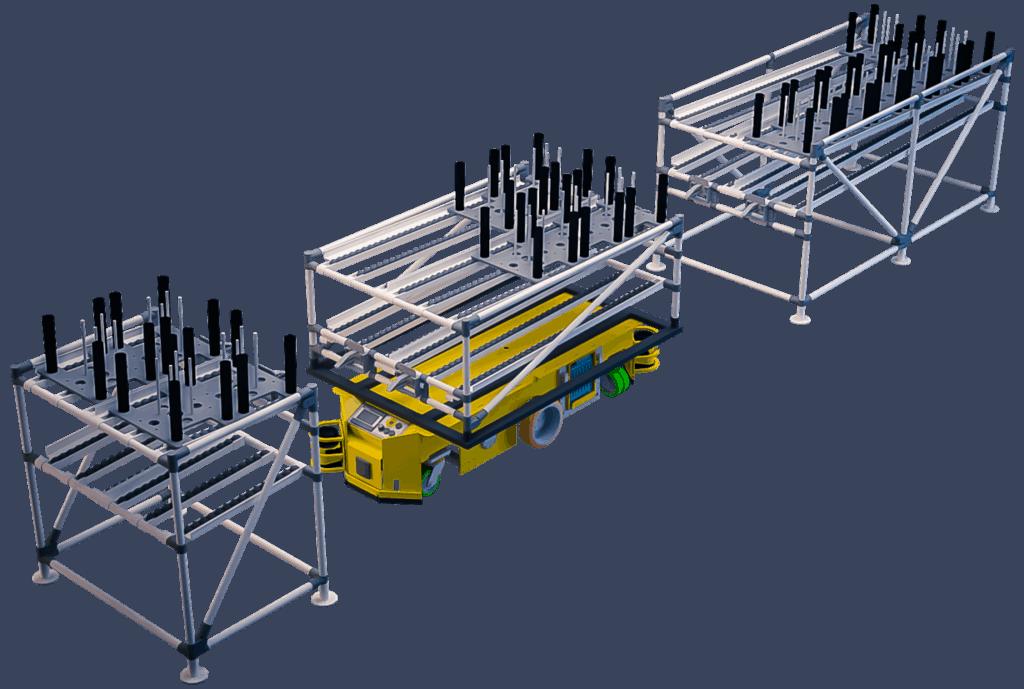 """I nostri carrelli shooter modulari permettono all'operatore di risolvere il problema della movimentazione di carichi pesanti, attraverso l'introduzione di supporti dotati di rulliere a gravità che permettono di far """"scivolare"""" i contenitori pieni di articoli da un carrello all'altro o da una struttura fissa al carrello."""