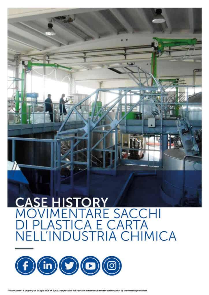 I case histories di INDEVA: movimentare sacchi di carta e di plastica nell'industria chimica in totale ergonomia e sicurezza, aumentandone la produttività.