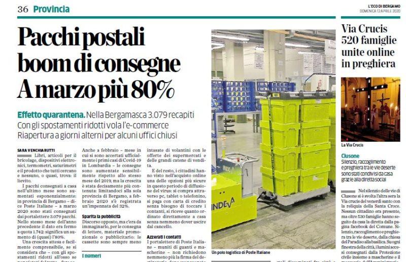 Servizio Postale Italiano raddoppia consegne dei pacchi durante periodo di isolamento per covid 19